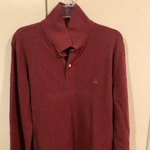 Long Sleeve Maroon Brooks Brothers Polo
